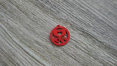 Polotovary - Drevený výrez kruh LOVE 2,5 cm - výber z viac farieb, 1 ks - 11624083_