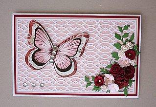Papiernictvo - Blahoželanie s 3D motýľom - 11624984_