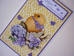Papiernictvo - Veľkonočné prianie s kuriatkom - 11625017_