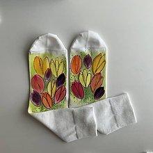 Obuv - Maľované kvetinkové ponožky (Tulipánové 2) - 11625115_