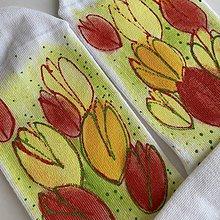 Obuv - Maľované kvetinkové ponožky (Tulipánové 1) - 11625139_