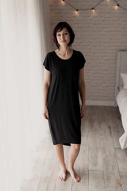 Šaty - Voľné šaty krátky rukáv bambusové čierné - 11623330_