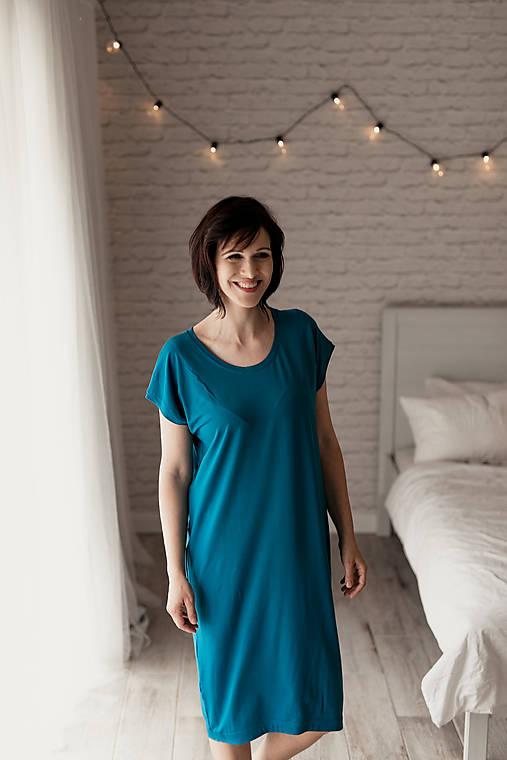 Šaty - Voľné šaty krátky rukáv bambusové petrolejové - 11623350_