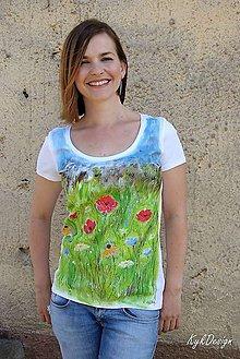 Tričká - Maľované tričko Poppies and Cornflowers - 11626582_
