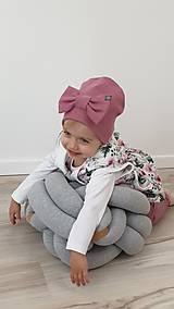 Detské čiapky - Detská  čiapka s mašľou  - 11625385_