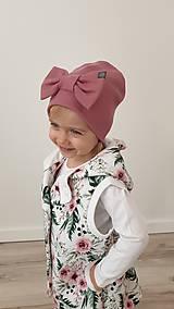 Detské čiapky - Detská  čiapka s mašľou  - 11625386_