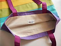 Nákupné tašky - Bavlnená taška dúhová pásikavá pastel - 11627093_
