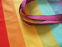 Nákupné tašky - Bavlnená taška dúhová pásikavá pastel - 11627095_