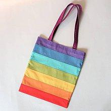 Nákupné tašky - Bavlnená taška dúhová pásikavá pastel - 11627121_
