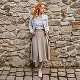 Sukne - LENA - áčková ľanová zavinovacia sukňa - 11628370_