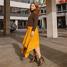 Sukne - LINA - ľanová asymetrická sukňa s výraznou viazačkou - 11628151_