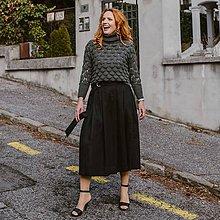 Sukne - REGINA - skladaná sukňa s vreckami a opaskom z ľanu - 11628359_