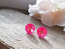 Náušnice - Swarovski rivoli Rose neon-vypredaj - 11628883_