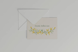 Papiernictvo - Veľkonočná akvarelová pohľadnica   botanická ilustrácia Zlatý dážď - 11627478_