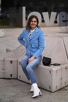 Kabáty - Flaušový kabátik – modrý - 11626651_