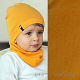 Detské čiapky - 100% merino Celoročný tenší set -horčica - 11626250_