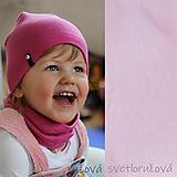 Detské čiapky - 100% merino Celoročný tenší set -svetloružová - 11626470_