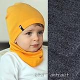 Detské čiapky - 100% merino Celoročný tenší set -antracit - 11626530_