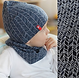 Detské čiapky - 100% merino Celoročný tenší set - čierna vzor - 11628737_