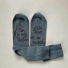 """Obuv - Motivačné maľované ponožky s nápisom: """"Pán je môj pastier!"""" (Sivé) - 11626641_"""