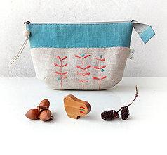 Taštičky - Vyšívaná taštiačka s rastlinkami - tyrkysová - 11625353_