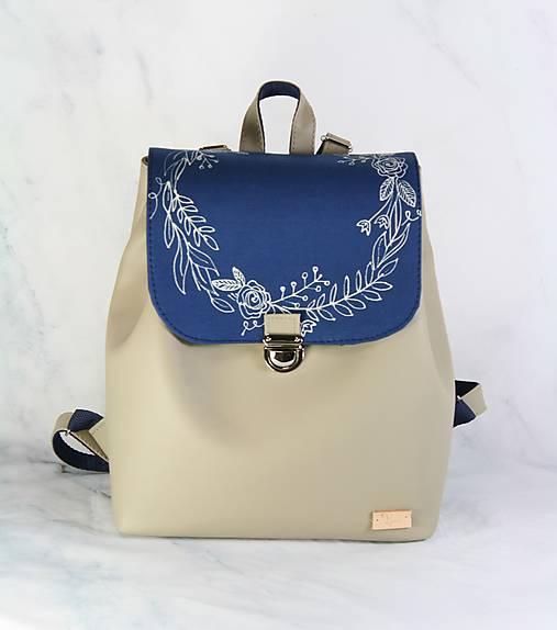 Modrotlačový batoh Matej béžový AM 1