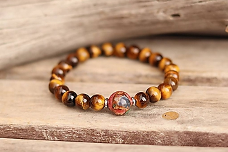 Šperky - Pánsky náramok z minerálu tigrie oko a jaspis regalit - 11625506_
