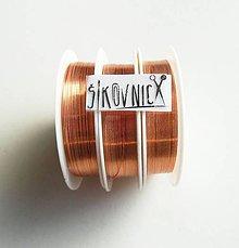 Suroviny - Farebný drôt, Ø 0,3 mm   (21 m, svetlá meď) - 11630028_