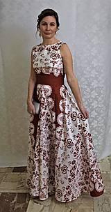 """Šaty - FLORAL FOLK """"Red & White"""", spoločenské dlhé šaty (biely podklad + červený ornament nový vzor !) - 11630874_"""