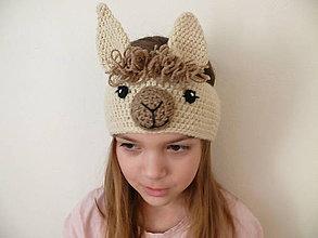 Detské čiapky - Čelenka lama - 11630297_