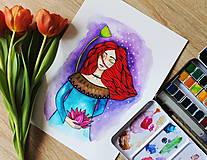 Kresby - Dievča s lotosovým kvetom - originál - 11629960_