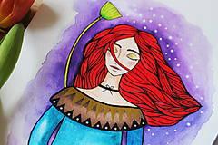 Kresby - Dievča s lotosovým kvetom - originál - 11629961_