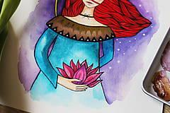 Kresby - Dievča s lotosovým kvetom - originál - 11629962_