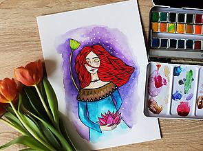 Kresby - Dievča s lotosovým kvetom - originál - 11629959_