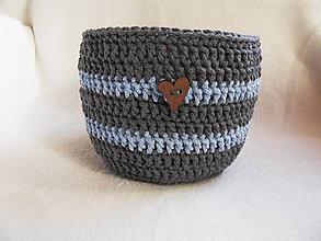 Košíky - Háčkovaný košík, šedo-modrý - 11630497_