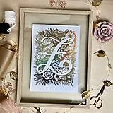 Grafika - Tvoja iniciála. Žiarivá grafika A4. - 11631758_