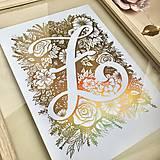 Grafika - Tvoja iniciála. Žiarivá grafika A4. - 11631759_