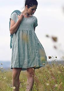 Šaty - Světle zelené šaty lněné - 11631465_