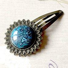 Ozdoby do vlasov - Vintage Blue Sea Jasper Hair Clip / Veľká vintage sponka s morským jaspisom - 11632329_