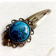 Ozdoby do vlasov - Vintage Blue Sea Jasper Hair Clip / Veľká vintage sponka s morským jaspisom - 11632371_