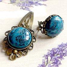 Sady šperkov - Vintage Blue Sediment Jasper Ring and Clip Set  / Set s modrým jaspisom z morských usadenín - 11632426_