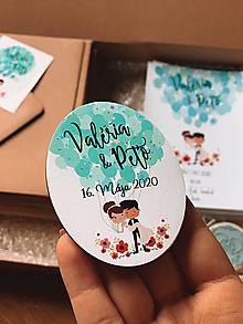 Darčeky pre svadobčanov - Magnetky pre svadobčanov párik s balónikmi - 11633595_