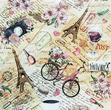 Papier - S1468 - Servítky - Paríž, bike, víno, kvety, vintage - 11632430_