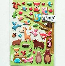 Papier - Samolepky - 3D efekt, lesné zvieratá, 10x15 cm - 11633171_