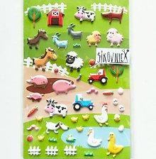 Papier - Samolepky - 3D efekt, zvieratá na farme, 10x15 cm - 11633446_