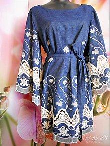 Šaty - Florlal folk - Vyšívané dámske šaty z jemného denimu - 11633744_