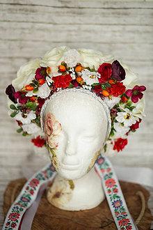 Ozdoby do vlasov - Ľudová kvetinová parta - 11634264_