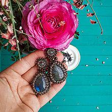 Náušnice - Labradorite earrings - vyšívané náušnice - 11633344_