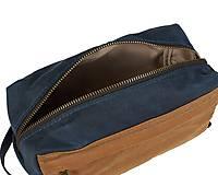Taštičky - Modrá kozmetička. Cestovná kozmetická taška. - 11632558_