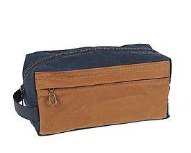 Taštičky - Modrá kozmetička. Cestovná kozmetická taška. - 11632557_